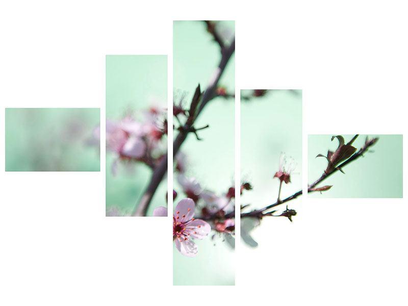 Metallic-Bild 5-teilig modern Die japanische Kirschblüte