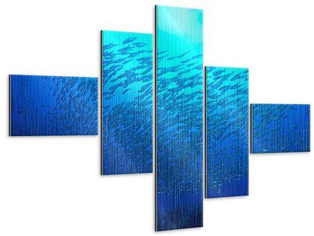 Metallic-Bild 5-teilig modern Fischwelt