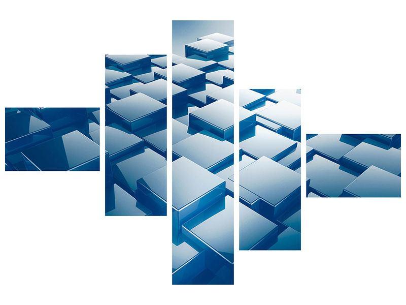 Metallic-Bild 5-teilig modern 3D-Cubes