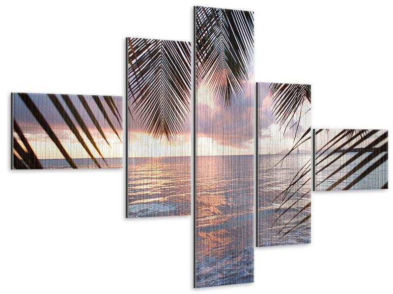 Metallic-Bild 5-teilig modern Unter Palmenblätter
