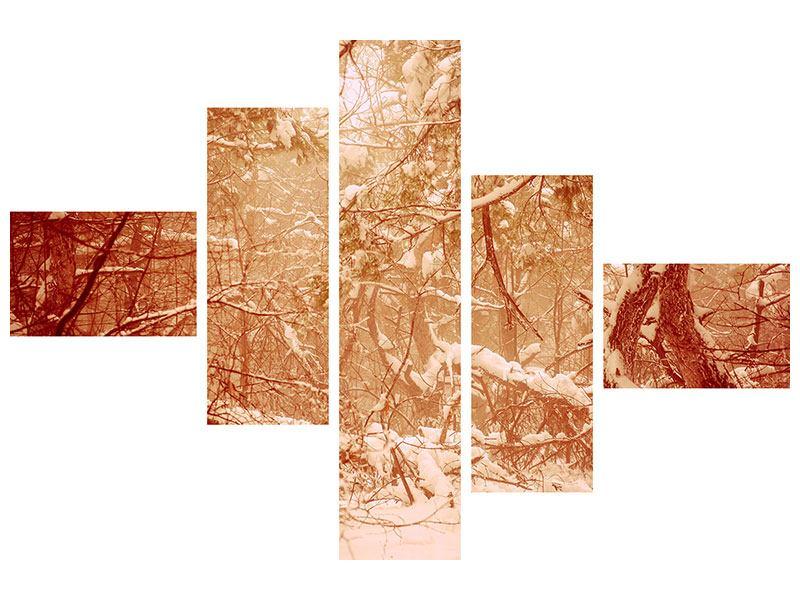 Metallic-Bild 5-teilig modern Schneewald