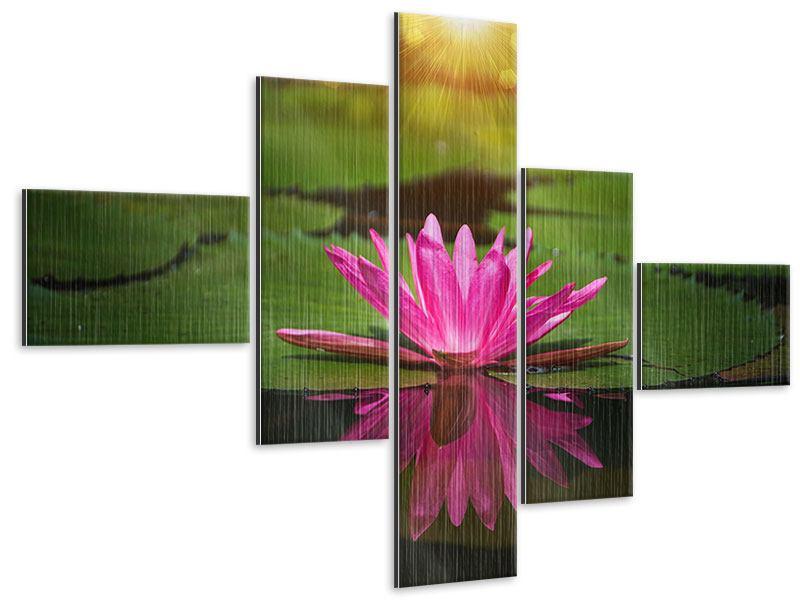 Metallic-Bild 5-teilig modern Lilienspiegelung