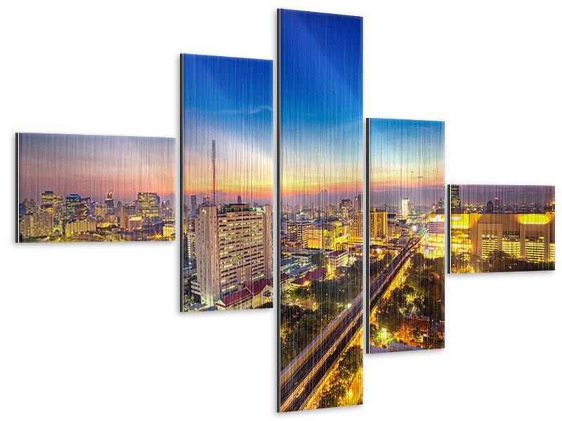 Metallic-Bild 5-teilig modern Bangkok