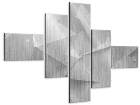 Metallic-Bild 5-teilig modern 3D-Raster