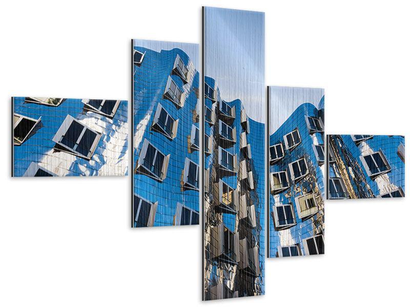 Metallic-Bild 5-teilig modern Neuer Zollhof