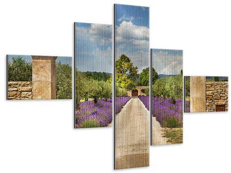Metallic-Bild 5-teilig modern Lavendel-Garten