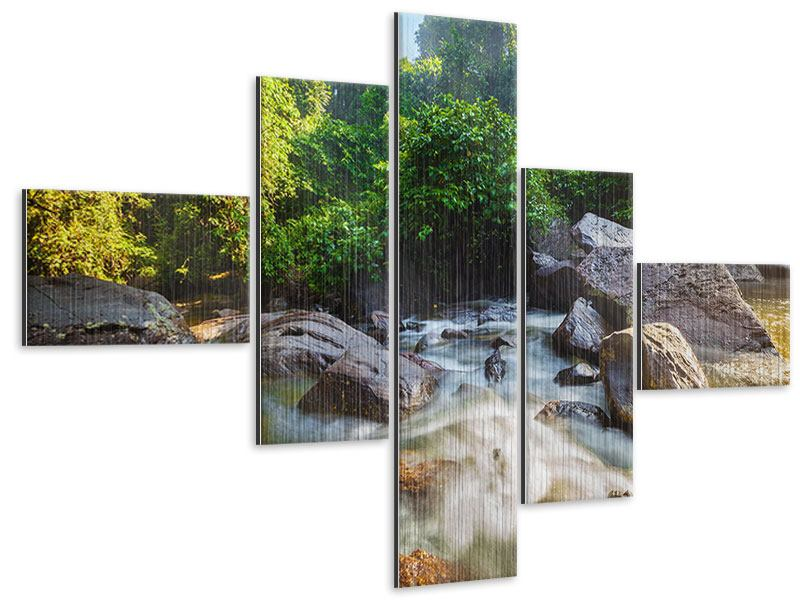 Metallic-Bild 5-teilig modern Das Gewässer