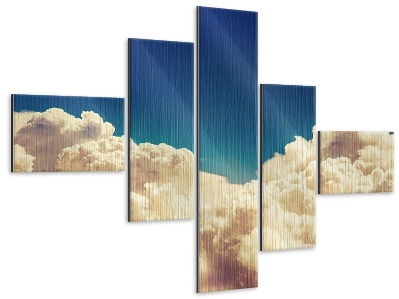 Metallic-Bild 5-teilig modern Himmelswolken