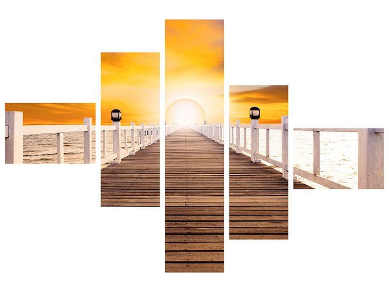 Metallic-Bild 5-teilig modern Die Brücke Ins Glück