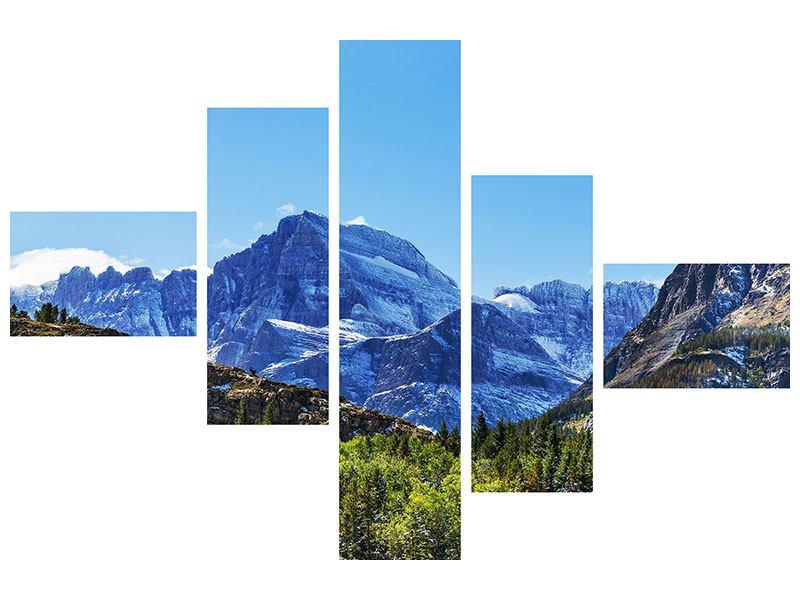 Metallic-Bild 5-teilig modern Dem Gipfel entgegen