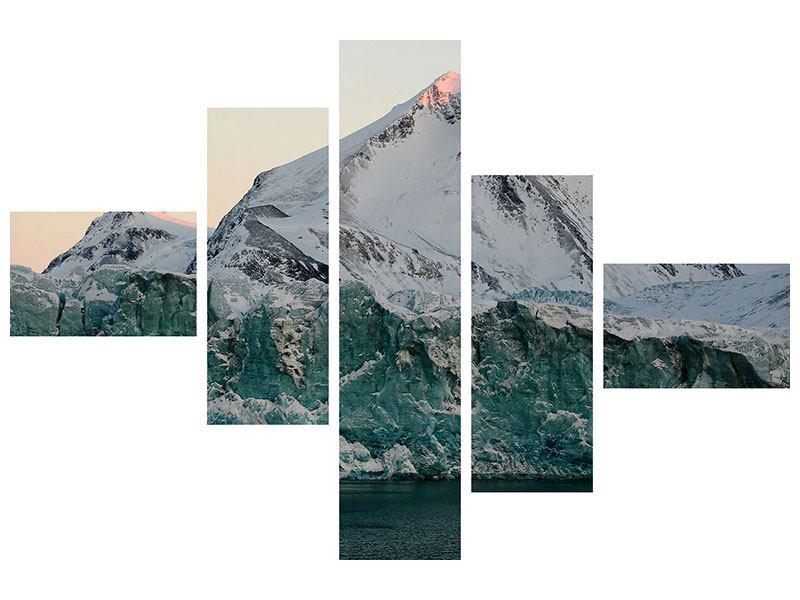 Metallic-Bild 5-teilig modern Die Antarktis