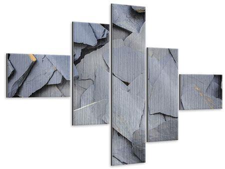 Metallic-Bild 5-teilig modern Schieferplatten
