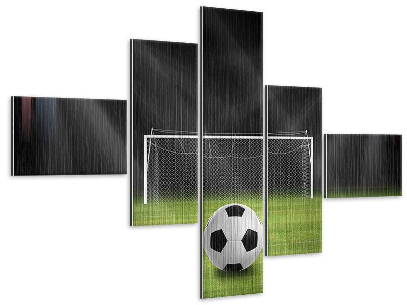 Metallic-Bild 5-teilig modern Fussball-Tor