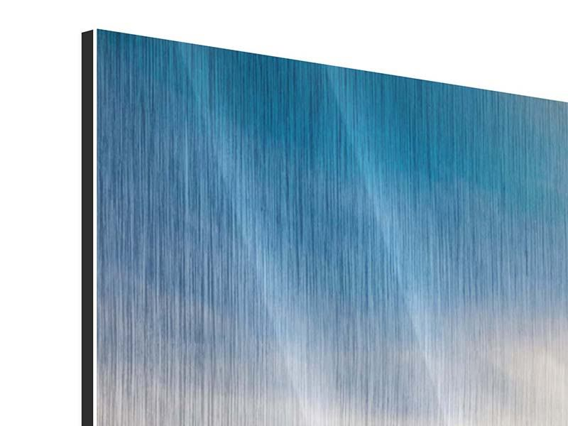 Metallic-Bild 5-teilig modern Über den verschneiten Gipfeln