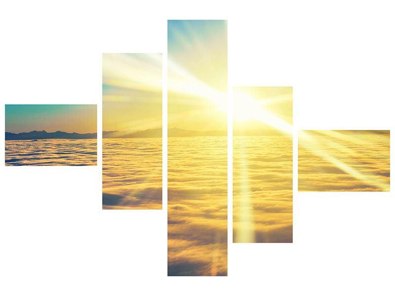 Metallic-Bild 5-teilig modern Sonnenuntergang über den Wolken