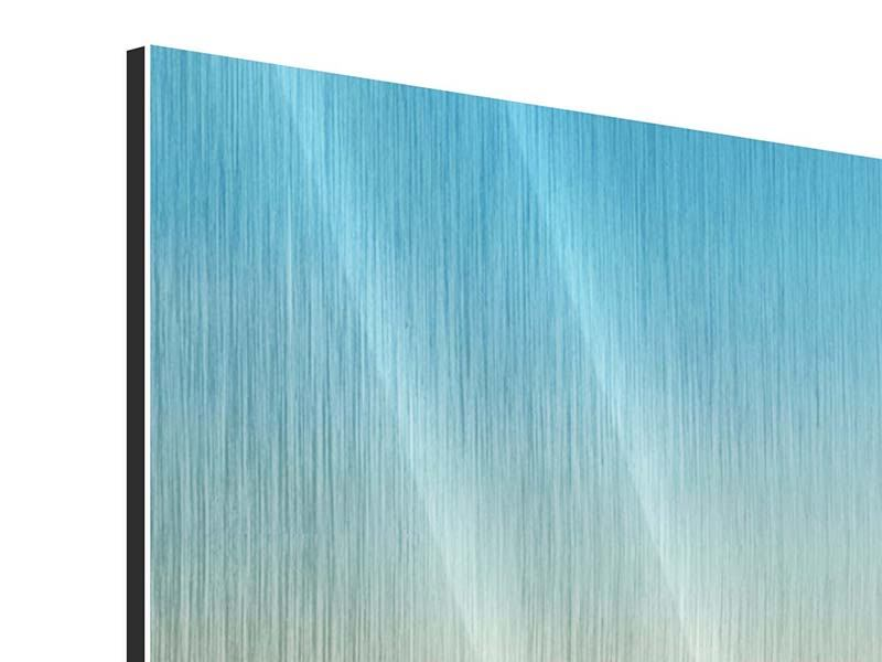 Metallic-Bild 5-teilig modern Dämmerung über den Wolken