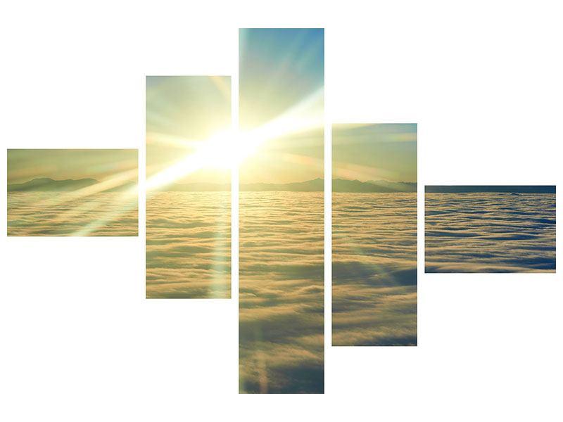 Metallic-Bild 5-teilig modern Sonnenaufgang über den Wolken