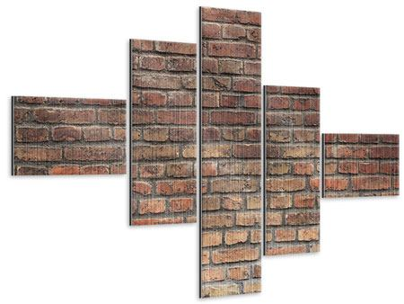 Metallic-Bild 5-teilig modern Brick Wall