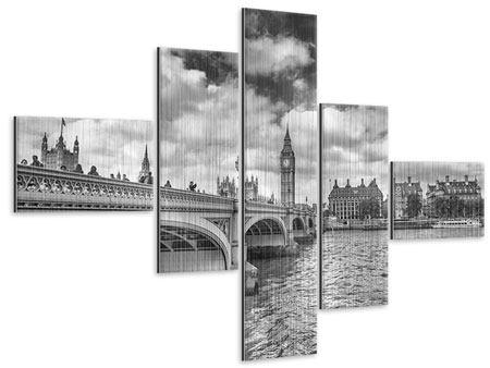 Metallic-Bild 5-teilig modern Westminster Bridge