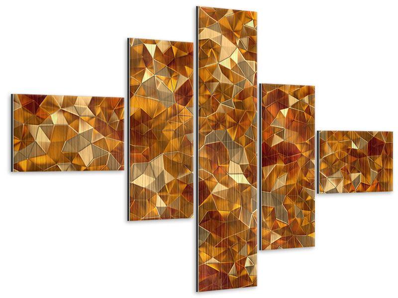 Metallic-Bild 5-teilig modern 3D-Bernsteine