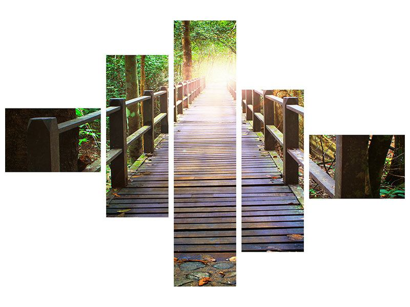 Metallic-Bild 5-teilig modern Die Brücke im Wald