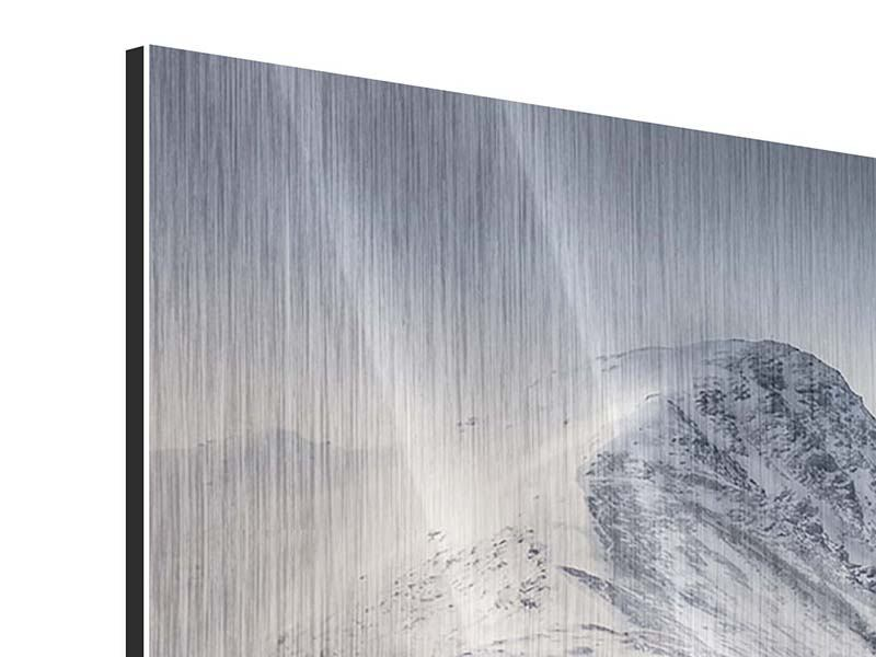 Metallic-Bild 5-teilig modern Die Berge der Schweiz