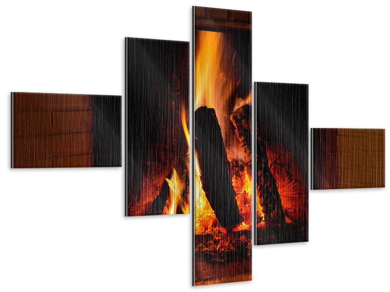Metallic-Bild 5-teilig modern Feuer im Kamin