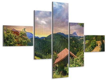 Metallic-Bild 5-teilig modern Schweizer Berge im Sommer