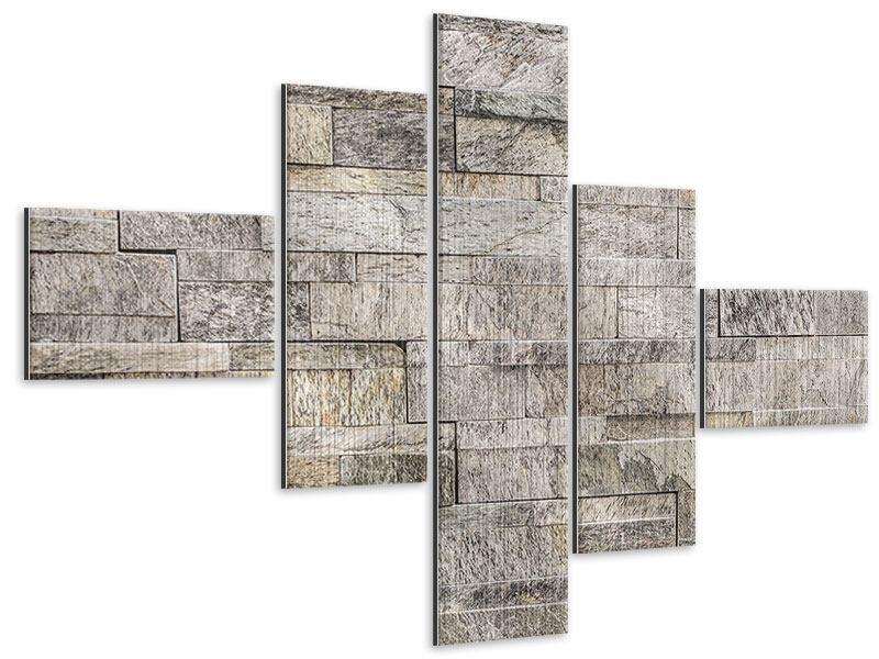 Metallic-Bild 5-teilig modern Elegante Steinmauer
