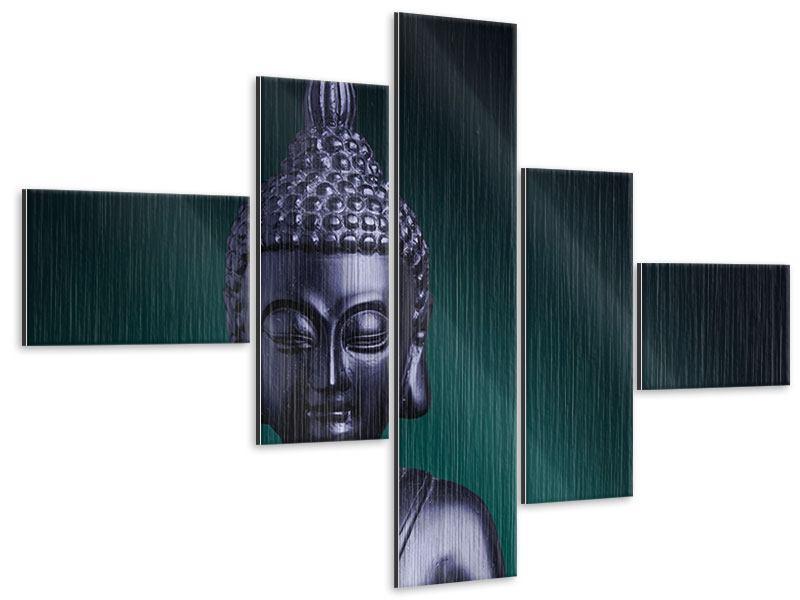Metallic-Bild 5-teilig modern Die Weisheit des Buddhas