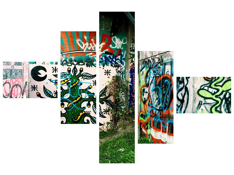 Metallic-Bild 5-teilig modern Graffiti im Hinterhof