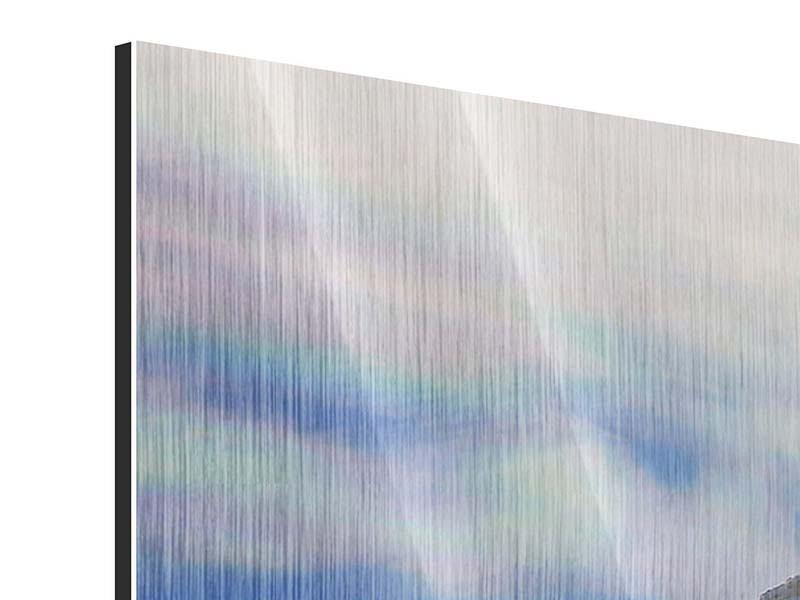 Metallic-Bild 5-teilig modern Mit Schneeverwehungen den Berg in Szene gesetzt