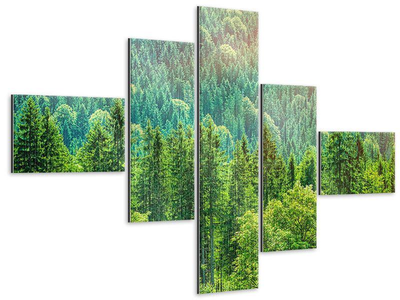 Metallic-Bild 5-teilig modern Der Waldhügel