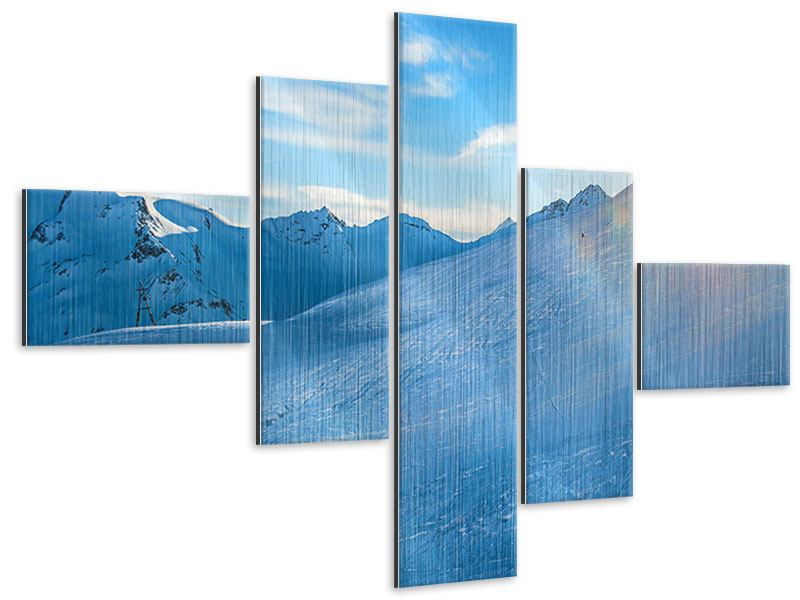 Metallic-Bild 5-teilig modern Sonnenaufgang in den Bergen