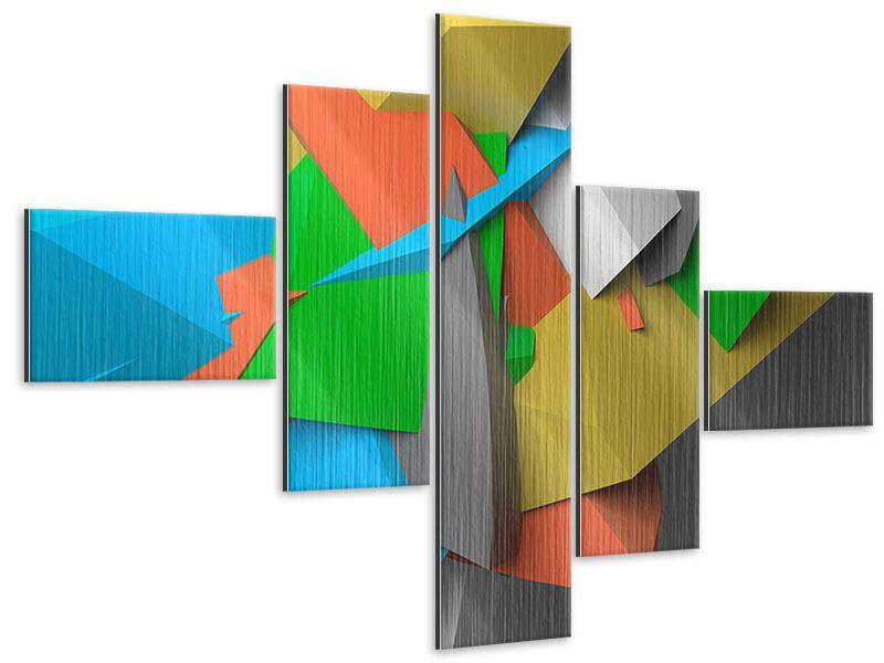 Metallic-Bild 5-teilig modern 3D-Geometrische Figuren