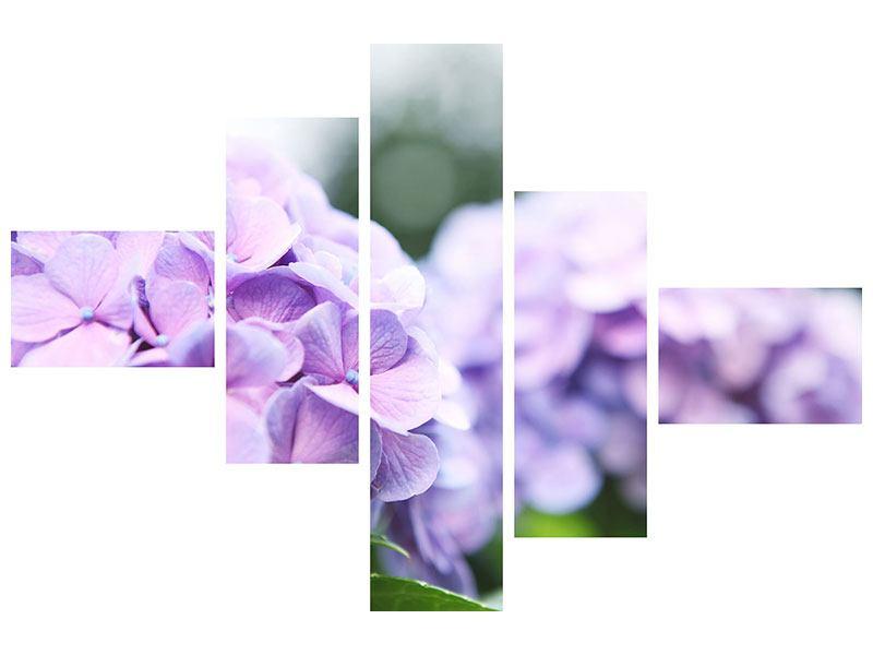 Metallic-Bild 5-teilig modern Hortensien