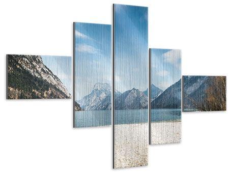 Metallic-Bild 5-teilig modern Der idyllische Bergsee