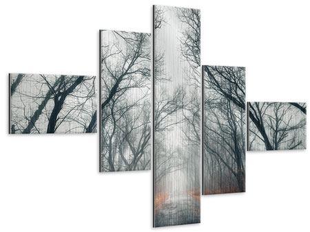 Metallic-Bild 5-teilig modern Mysteriöse Stimmung im Wald