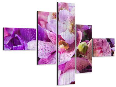 Metallic-Bild 5-teilig modern Im Orchideenparadies