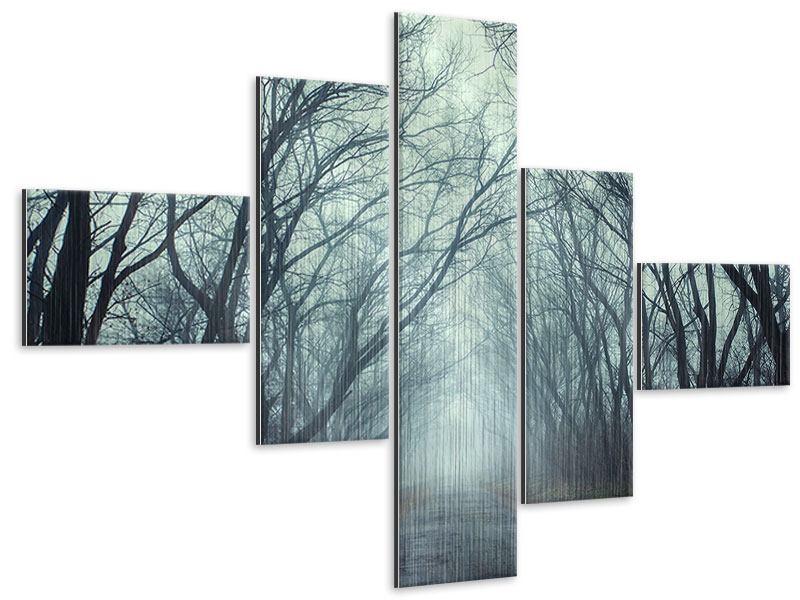 Metallic-Bild 5-teilig modern Nebelwald