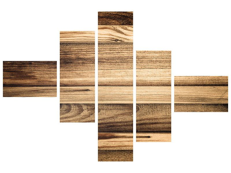 Metallic-Bild 5-teilig modern Holztrend