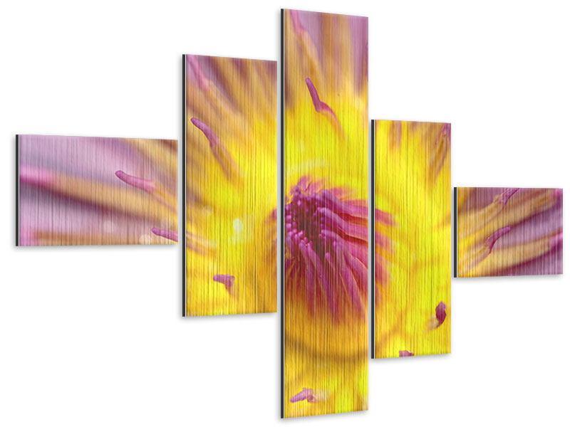 Metallic-Bild 5-teilig modern XXL-Lotus