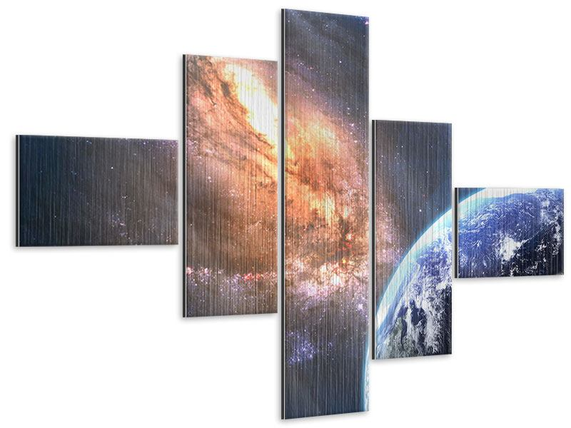 Metallic-Bild 5-teilig modern Universus