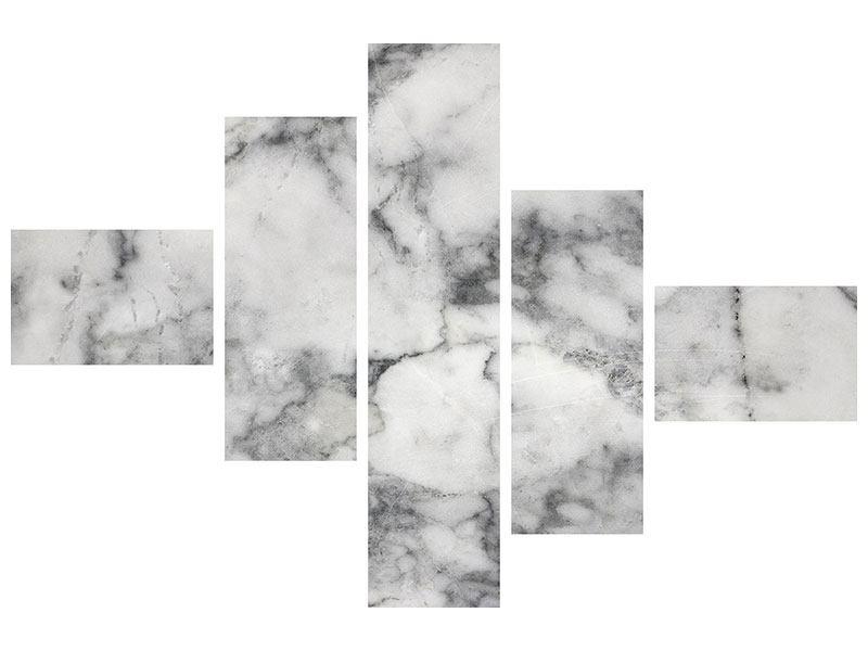 Metallic-Bild 5-teilig modern Klassischer Marmor