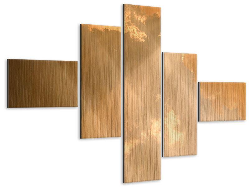 Metallic-Bild 5-teilig modern Abendhimmel
