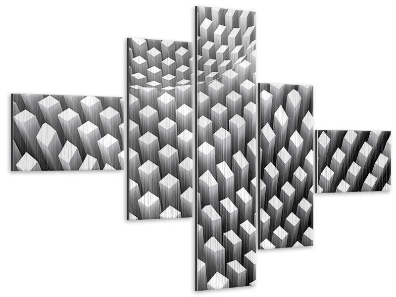 Metallic-Bild 5-teilig modern 3D-Rasterdesign
