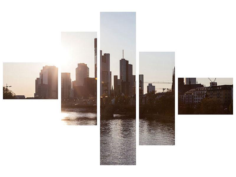 Metallic-Bild 5-teilig modern Skyline Sonnenaufgang bei Frankfurt am Main