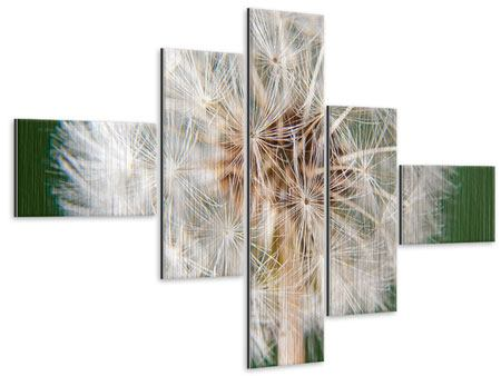 Metallic-Bild 5-teilig modern Riesenlöwenzahn