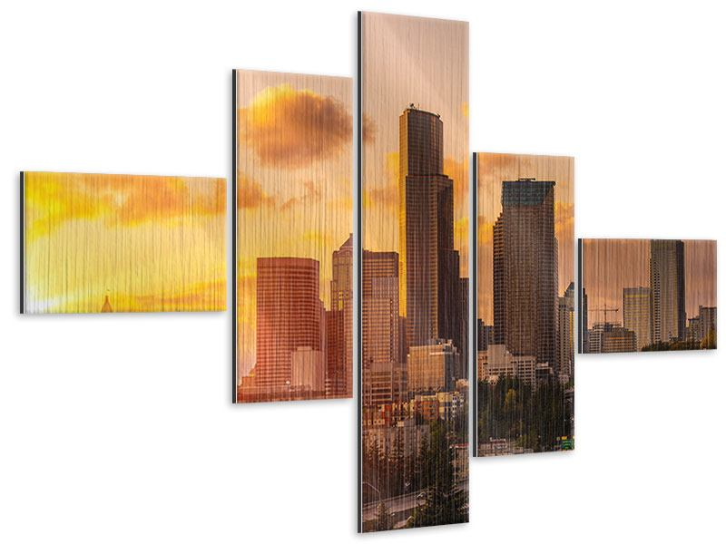 Metallic-Bild 5-teilig modern Skyline Washington