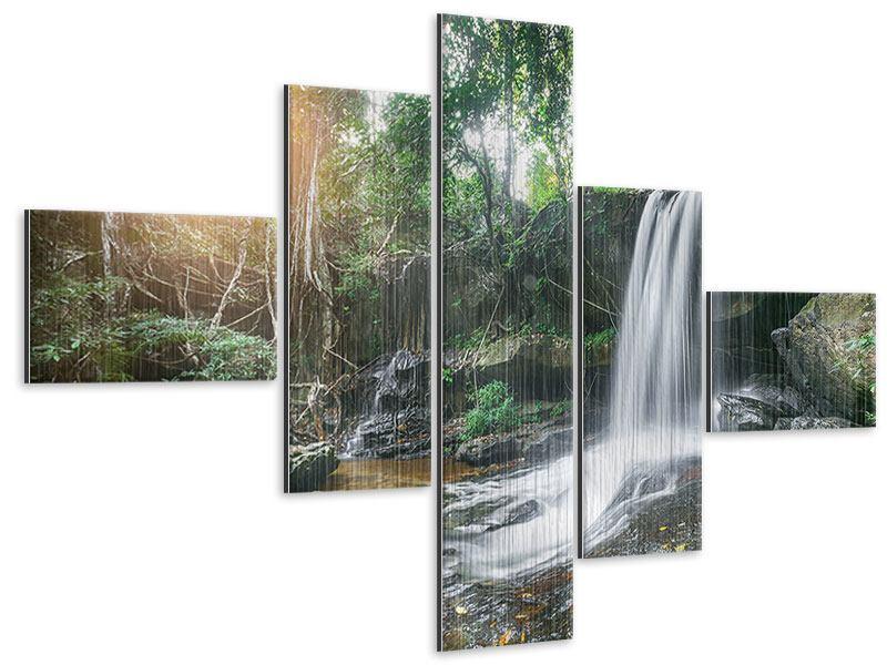 Metallic-Bild 5-teilig modern Naturschauspiel